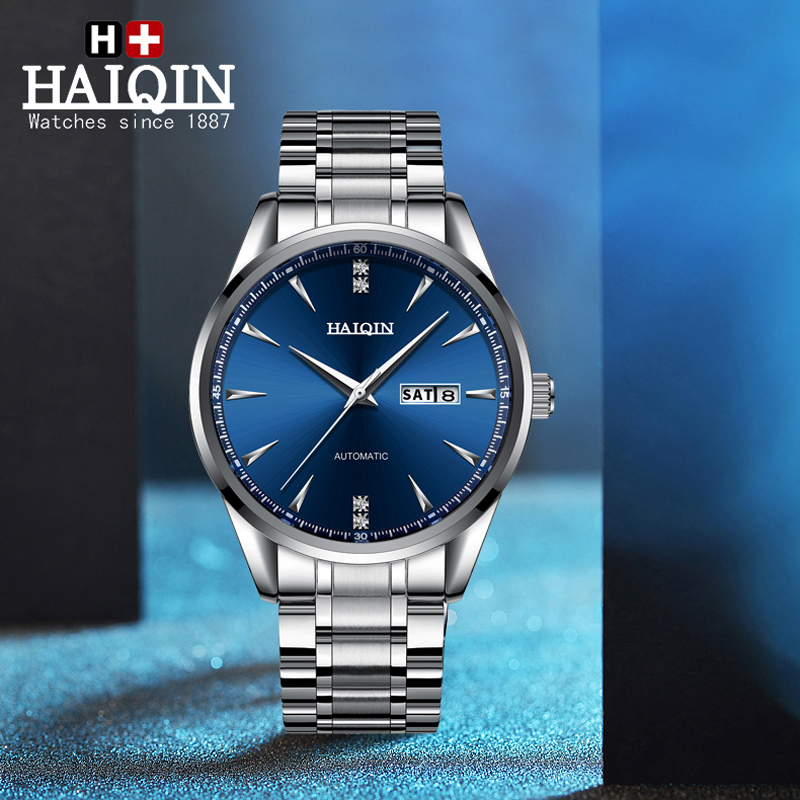2020 New HAIQIN Men's Mechanical Watch For Men Luxury Automatic Watch Men Business Stainless Steel Wristwatch Clock Reloj Hombre