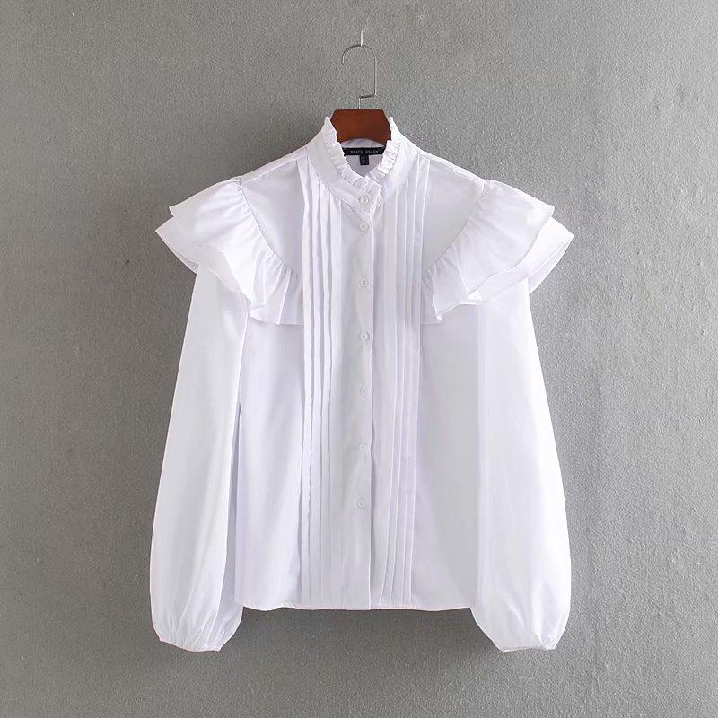 women sweet agaric lace stand collar casual ruffles blouse female lantern sleeve pleats shirt chic femininas blusas tops LS6036