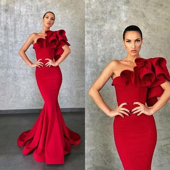 Elie Saab Elegant Red Mermaid Evening Dresses Flower Ruffles Formal Party Evening Gowns Runway Fashion Prom Wear african silver high neck mermaid prom dresses ruffles rose flower prom gowns robe de bal backless party dresses evening wear for