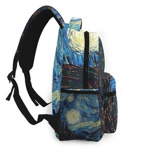 Image 3 - ブランドゴッホ旅行バックパック星空デイパック女性の子供のランドセルティーン少年少女学生のラップトップバッグ mochila アブラソコムツ