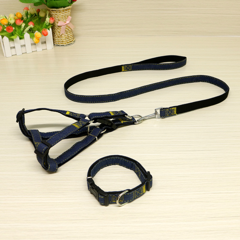 Dog Hand Holding Rope With Teddy Corgi Denim Neck Ring Dog Rope Small And Medium-sized Dogs Dog Chain Pet Supplies