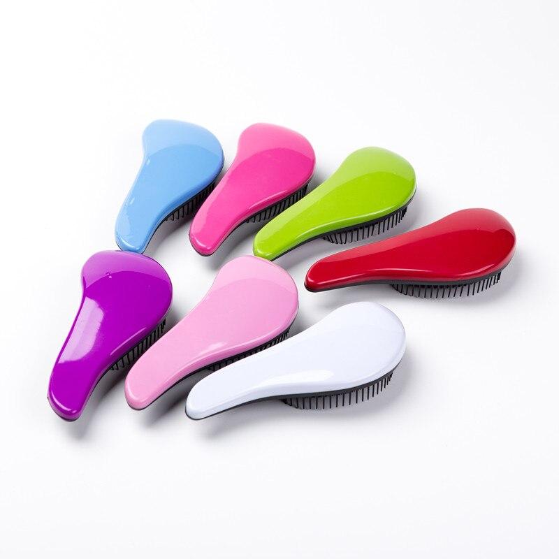 Magic Anti-static Hair Brush Handle Tangle Detangling Comb Shower Electroplate Massage Comb Salon Hair Styling Tool