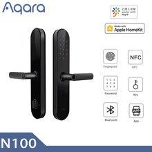 Aqara n100 inteligente fechadura da porta de impressão digital nfc desbloqueio funciona bluetooth senha com mijia homekit ligação inteligente com campainha superior