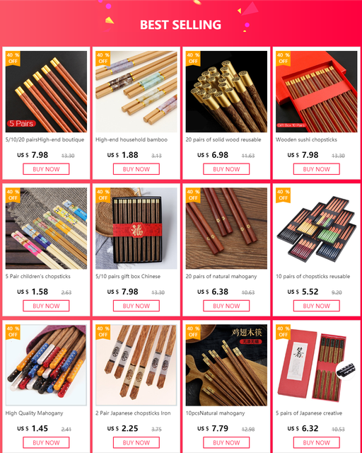 20 пар многоразовых палочек ручной работы из бамбука и натурального