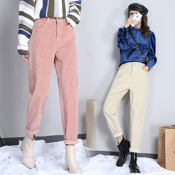 Spring autumn new corduroy harem pants women's pants casual pants Female Corduroy pants corduroy high waist loose trousers фото