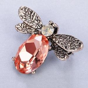 Женская винтажная брошка MAIKALE, винтажная брошка с кристаллами в виде медовой пчелы, с овальными бусинами, аксессуары из сплава