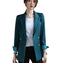 Female Elegant Formal Women Bouble Breasted Solid Blazer Female Coat Fashion