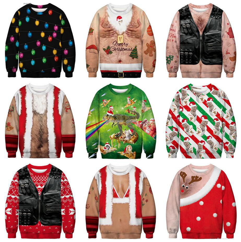 Unisex Men's Women's Ugly Christmas Sweater Vacation Santa Elf Funny Christmas Fake Hair Jumper Autumn Winter Tops Clothing Gift