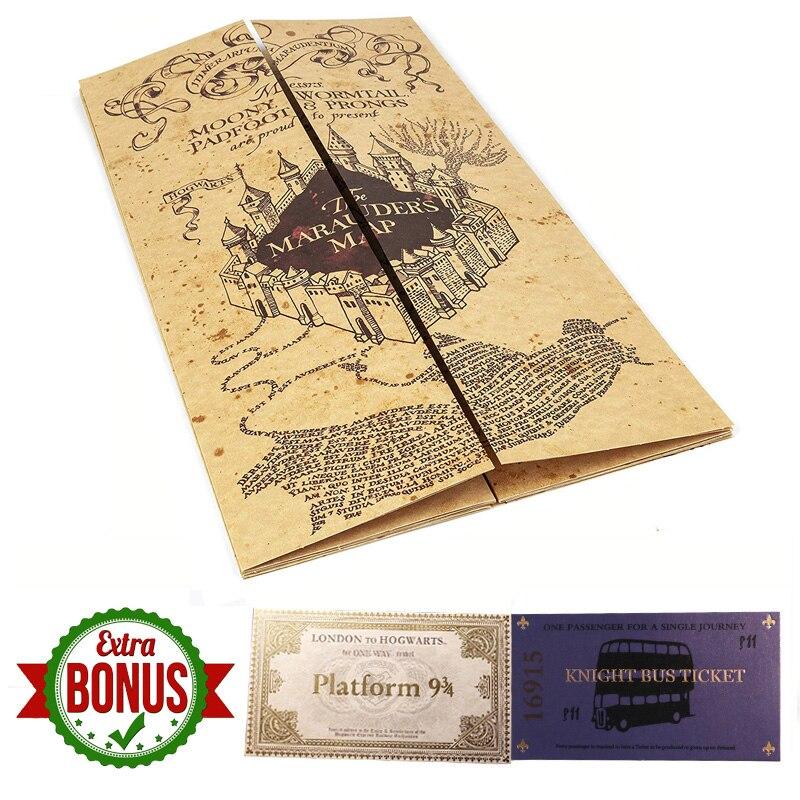 Новинка, популярные гончарные карты мародера, волшебник, школьные билеты, Студенческая коллекция, подарки, вечерние болельщики - Цвет: Marauders Map