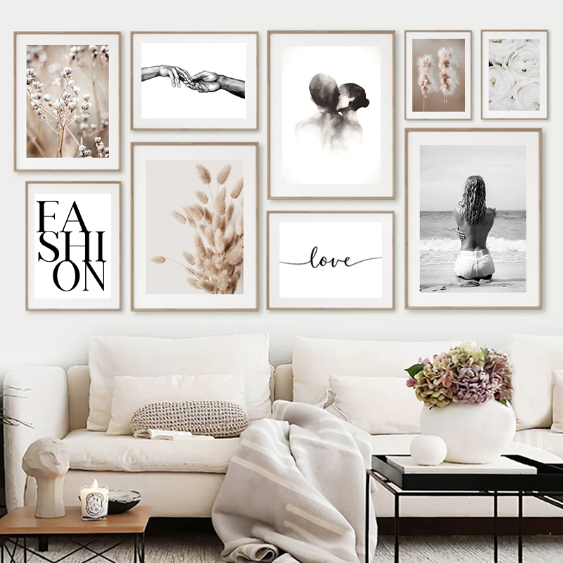 Modern Minimalist Poster Home Decor Nordic Canvas Painting Flower Grass Quote Figure Picture Wall Art Print for Bedroom Design