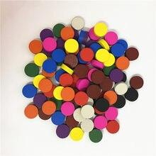 100 peças diâmetro 15*5mm peças de madeira jogo de peão xadrez colorido para tokens jogo de tabuleiro/jogos educativos acessórios 10 cores