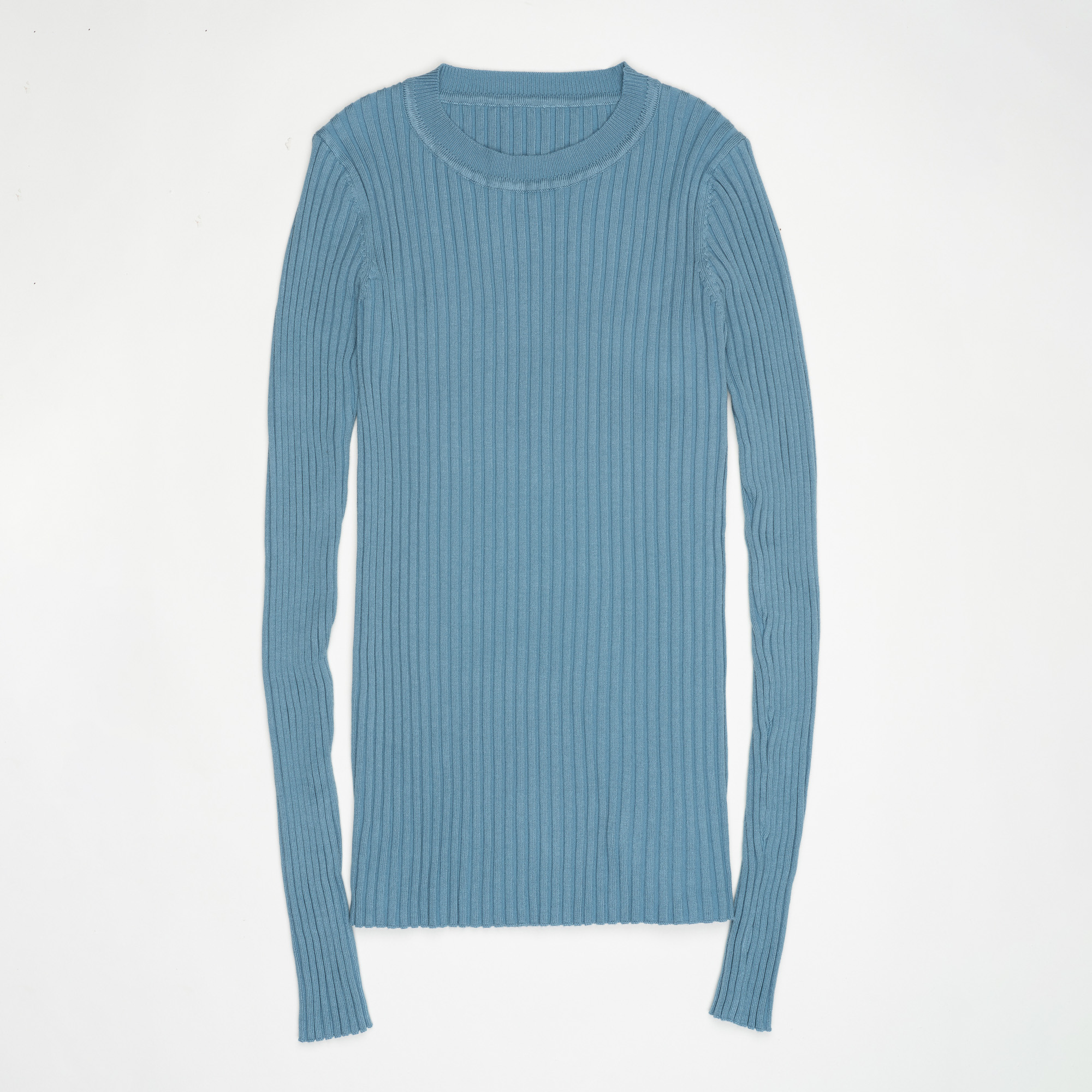 Women Sweater Pullover Basic Ribbed Sweaters Cotton Tops Knitted Solid Crew Neck With Thumb Hole 19