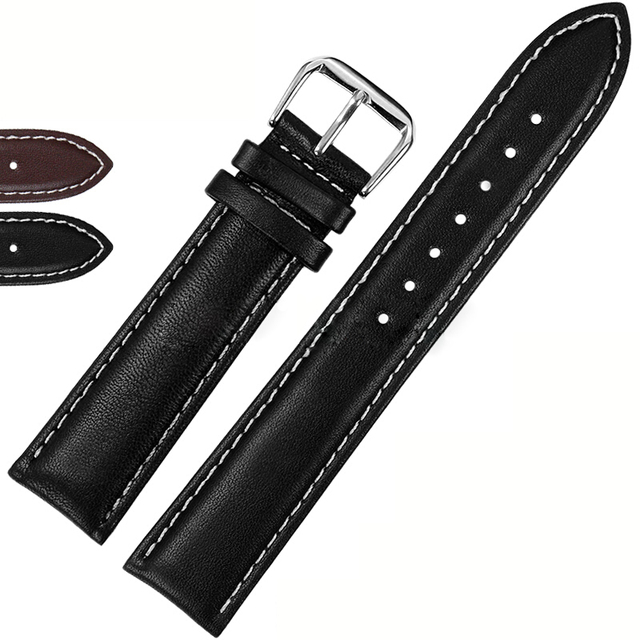 Smooth Surface Watch Strap 20mm Black and Brown Leather Watch Band White Stiching Watchband