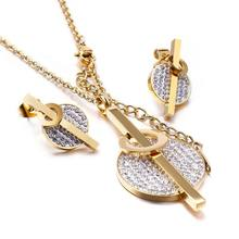 Golden Gold Color Stainless Steel Bridesmaid Dubai Jewelry Sets CZ Stud Earrings Necklaces For Women Indian Jewellery(China)