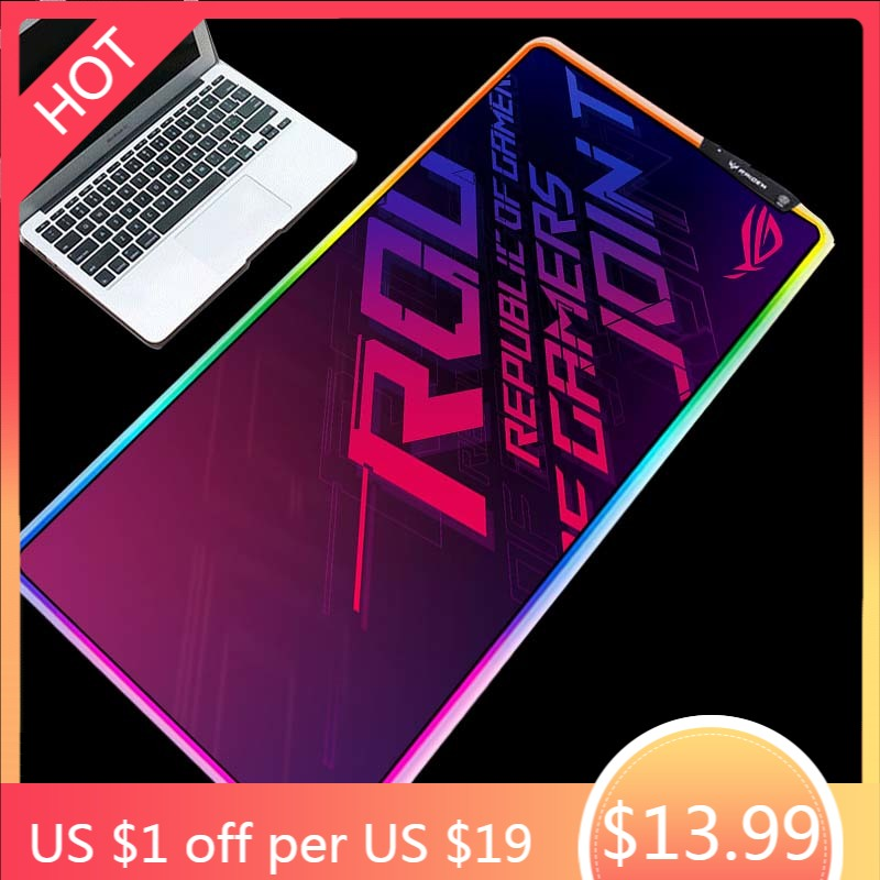 Yuzuoan RGB Cool Gaming Gaming ROG Finished American Mouse Pad LED Marquee Keyboard Pad