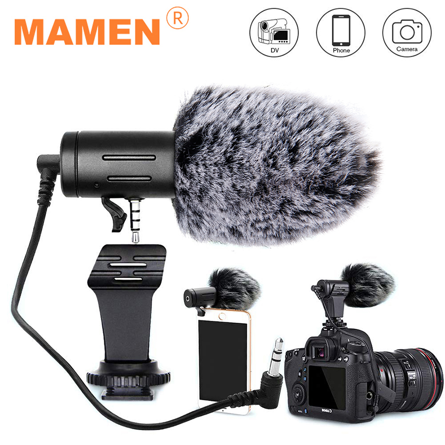 MAMEN 3 5mm Plug Camera Microphone Condenser Recording Microfone Ultra-wide Audio Studio MIC For Canon Sony Nikon DSLR DV Vlog