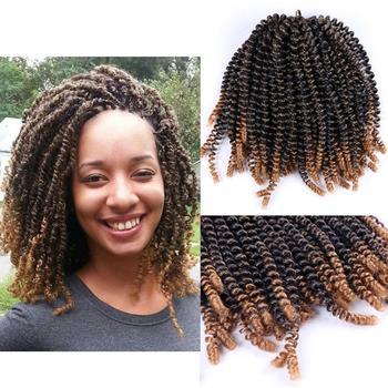 DAIRESS 8 Fluffy Spring Twist Hair Crochet Braids Bomb Synthetic Braiding Extensions Nubian