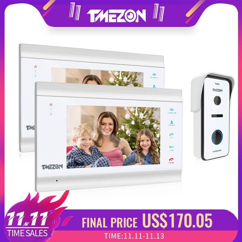 TMEZON 7 pulgadas HD1080P Video inteligente sistema de intercomunicación de teléfono de puerta con cámara de timbre con cable de alta definición, soporte desbloqueo remoto
