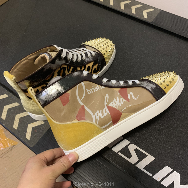 High Top Leisure cl andgz Yellow PVC Leather Lace Up Rivets Front Red bottoms men Sports shoes sneakers Flat Loafers Footwear