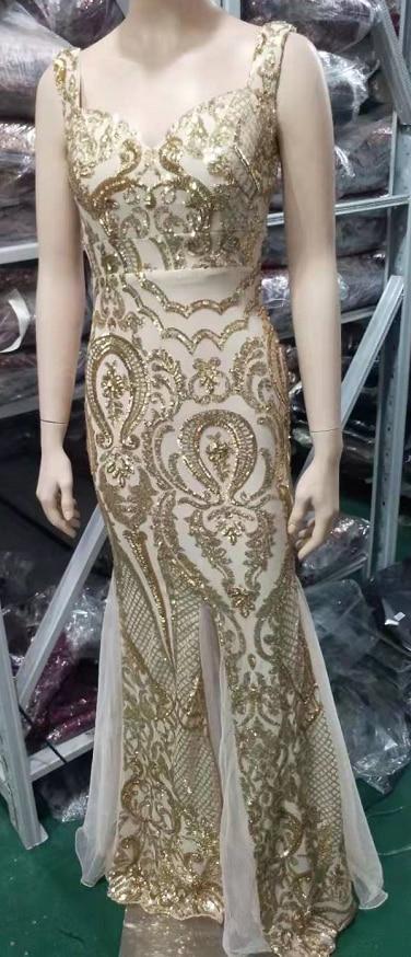 Shinny Gold Sequined V Neck Sleeveless Elegant Evening Dresses Sexy Robe De