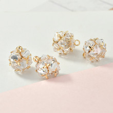 High quality sparkle Zircon Pendant copper plated 18K real gold DIY Earrings Necklace Bracelet accessories(China)