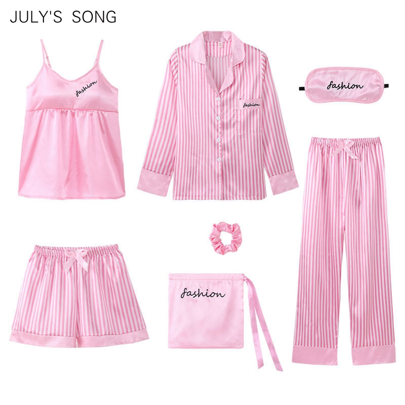JULY'S SONG 2020 New Fashion 7 Pieces  Pajamas Sets  Faux Silk Stain Pink Stripe Pyjama Sexy Sling Shorts  Long Sleeve Sleepwear