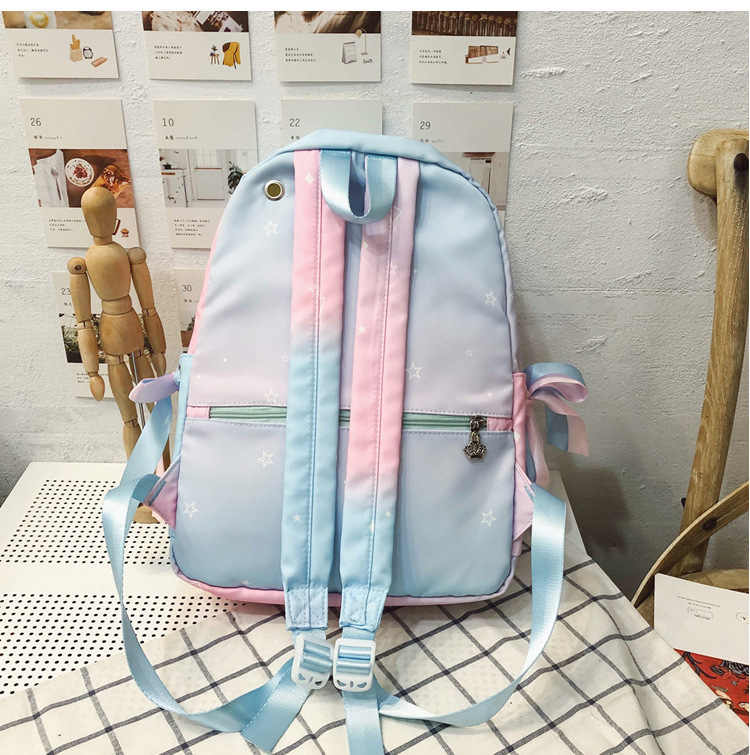 Kpop Blackpink Pulver Blauen Gradienten Rucksack Schul für Teenager Mädchen Kpop Mode Kontrast Farbe Rucksack Reise Rucksack