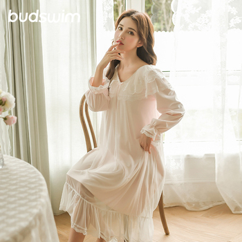 Palace nighty women's flannel long-sleeved thick warm velvet nightdress female sleep fairy long dressing gown nighties for women