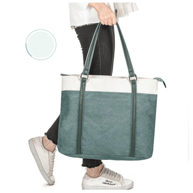 High Quality Women\'S Briefcase Large Pocket Tote Canvas Women Handbag Leather Shoulder Strap Handbags 15.6 Laptop Bags For Women