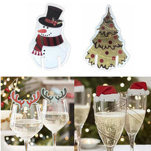 10Pcs/lot Christmas Decorations For Home Table Place Cards Christmas Santa Hat Wine Glass Decoration New Year Party Supplies(China)