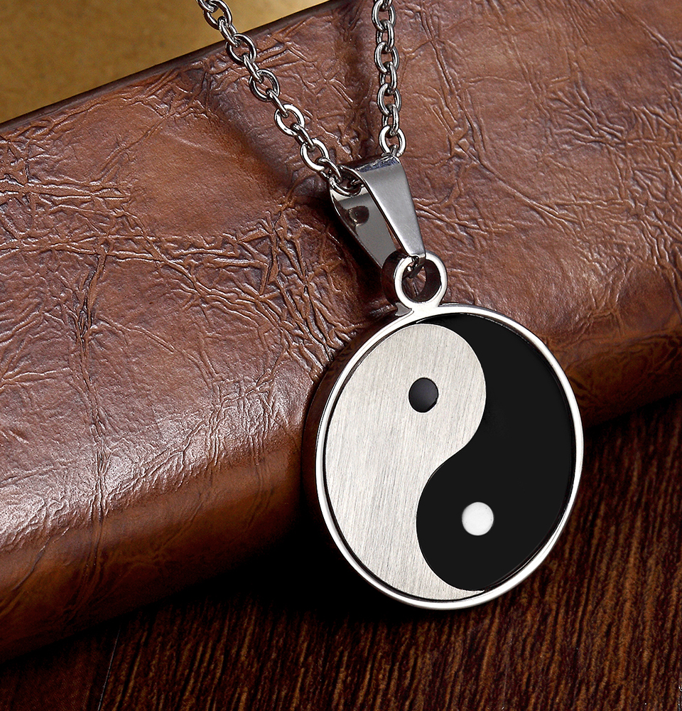 chain silver yin yang stainless steel,necklace yin yang,necklace silver 50cm,chain yin yang,yin yang chain,zirconia necklace,chain silver