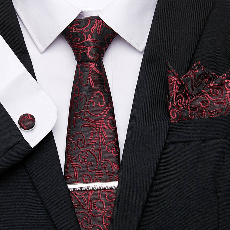 Men's Necktie Jacquard Woven 7.5 Cm 100% Silk Tie Clip Handkerchief Cuffink Necktie Set Flomal Dress Accessories Wedding Party