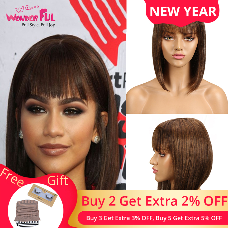 Short Cut Bob Wig Brazilian Remy Human Hair Wigs For Black Women Brown Red Mix Color Machine Made Wig #2 #4 #1B Blue 99J