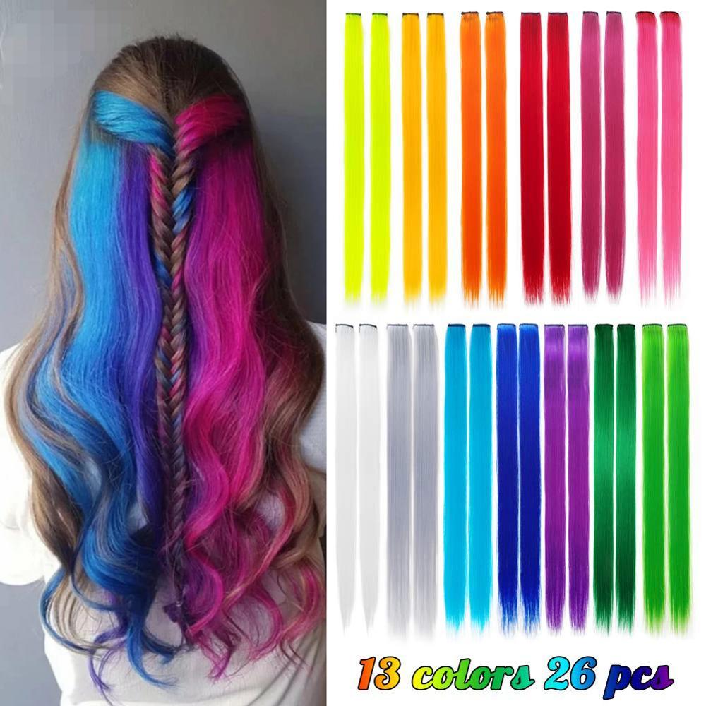 26 шт. в упаковке, цветные вечерние накладные волосы на заколках для девочек, 20 дюймов, Разноцветные Прямые Синтетические накладные волосы