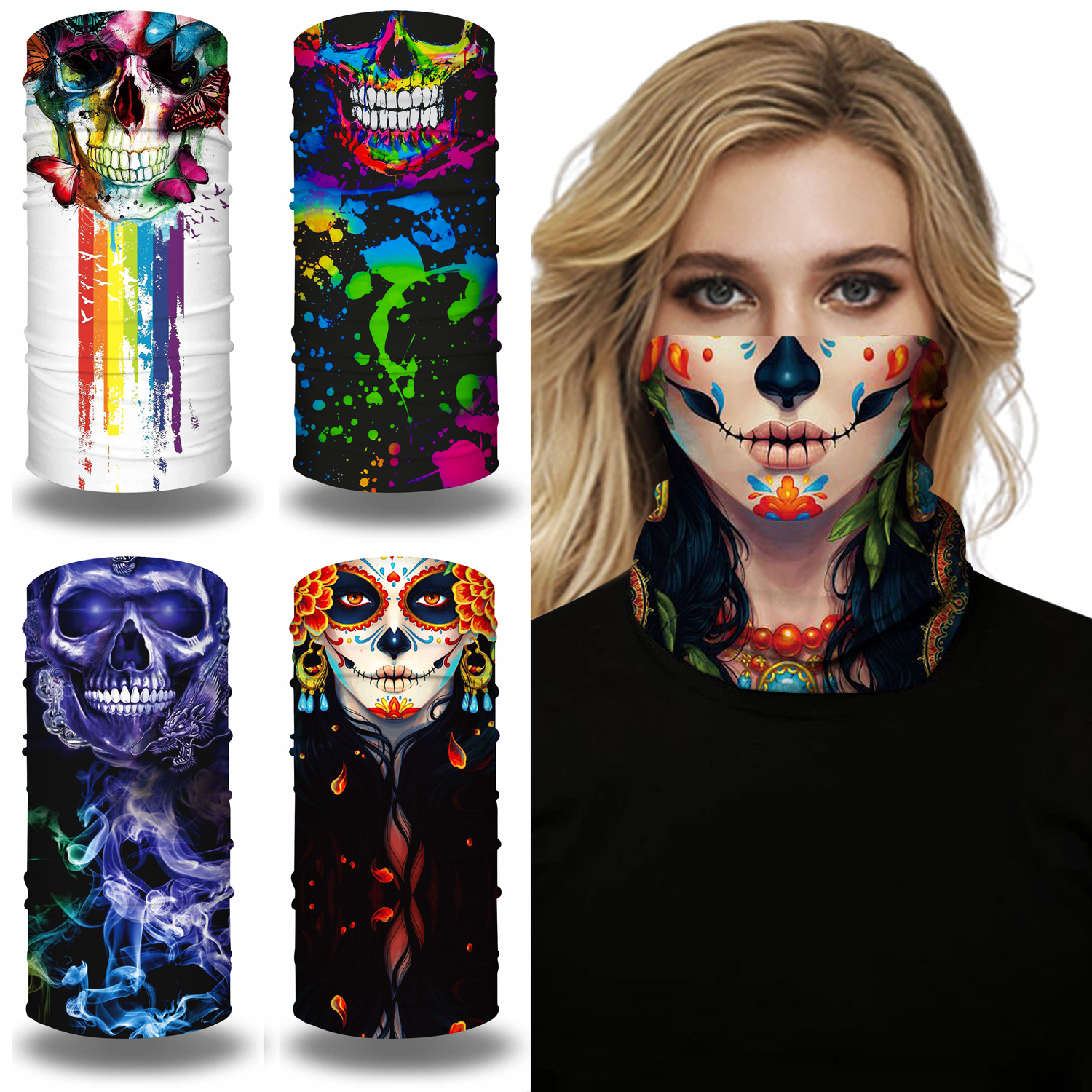 3D Skull Bandana Magic Tube Neck Gaiter Wristband Face Mask Sports Cycling Fishing Hiking Bandana Headband Scarf Men Women