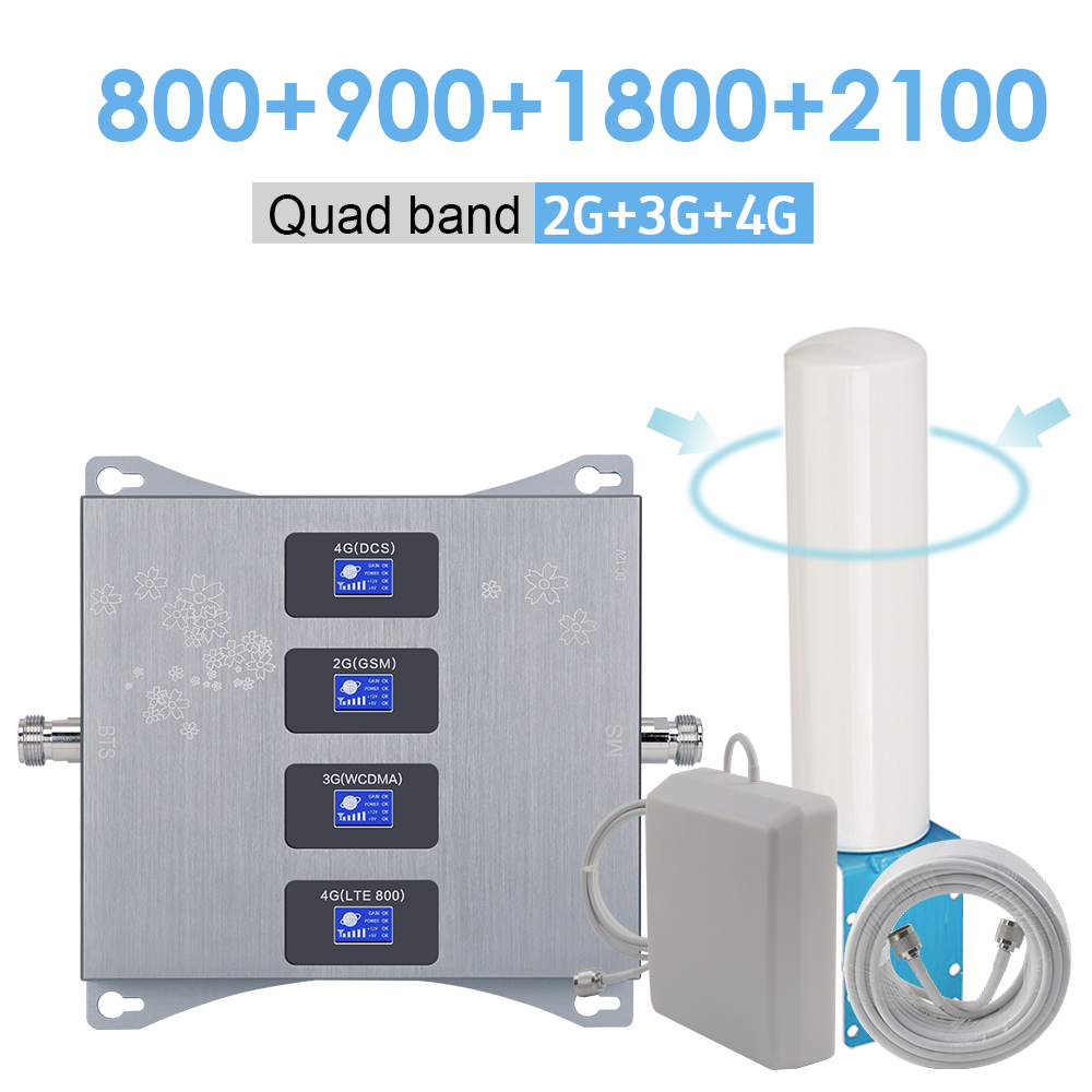 800 900 1800 2100 Quad Band Cellular Signal Amplifier 4g LTE GSM 2g 3g 4g Signal Repeater 4g LTE B20 B3 Mobile Signal Booster