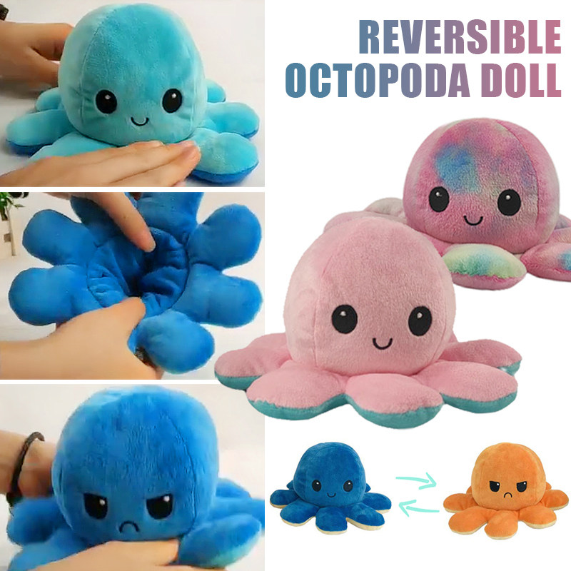 Soft And Reversible Plush Toy Colorful Octopus Doll Stuffed Octopus Doll Flip Toy Purple + Green Baby Companion Christmas Gift