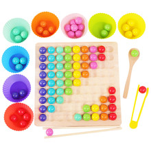Crianças brinquedos de madeira diversão cor clipe grânulo jogo de classificação cor inteligência desenvolvimento atenção formação jardim de infância ensino ai