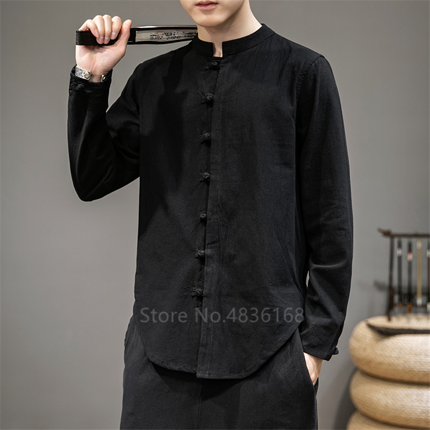 2020 Casual Oriental Men New Wingchun Kung Fu Tai Chi Linen Shirt Chinese Style Traditional Top Vintage Plus Size Coat Tang Suit