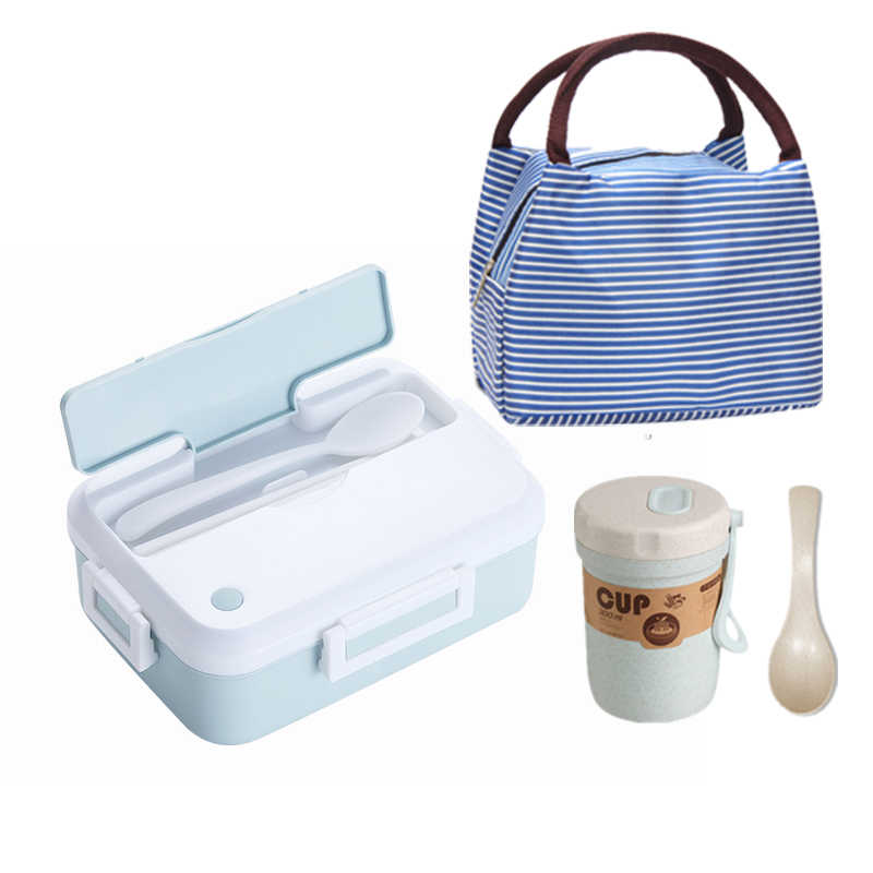 Microwave oven Lunch Box With Tableware Cup Leakproof Portable Food Container Office School Hiking Camping Kids Health Bento Box