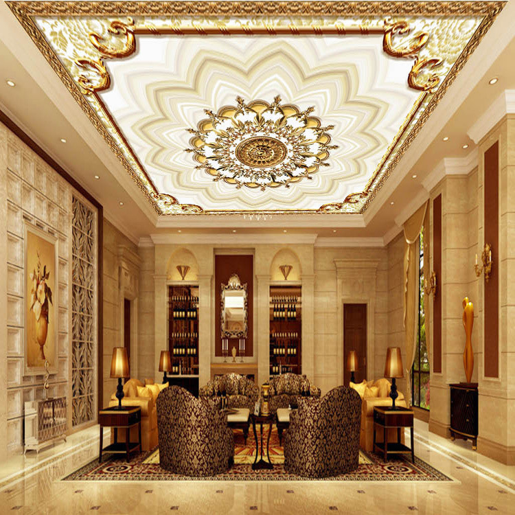 European Style Top Grade Ceiling Wallpaper Living Room Restaurant Hotel Background Wallpaper Roof To Book Large 3D Mural