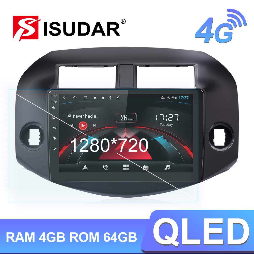 Isudar H53 4G Android 1 Din Auto Radio For Toyota/RAV4 2007-2011 Car Multimedia 8 Core RAM 4GB ROM 64GB GPS DVR Camera IPS DSP image