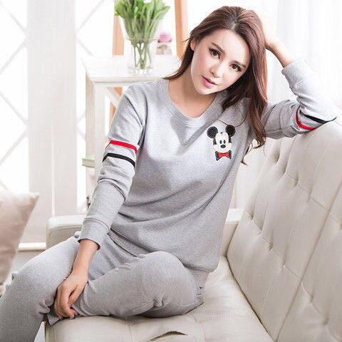 New Style Korean-style Spring And Autumn Casual Cartoon Long Sleeve Pajamas Women's Qmilch Crew Neck GIRL'S Students Homewear Se