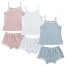 cute baby summer clothing set 2019 new cotton short sleeved striped shirts shorts toddler baby clothes kids outfits sy f192210 2Pcs New Summer Cute Baby Clothes Set Girls Solid Lace Cotton Casual Sleeveless Tops+Shorts Toddler Infant Outfits Clothing