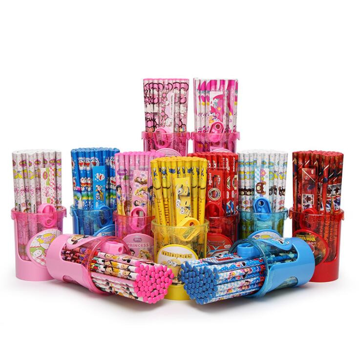 50pcs/lot Kawaii Cartoon Minions Princess HB Pencil For Kids Wood Pencils With Free Ruler Sharpener And Pen Holder