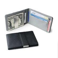 Venda quente moda sólida bifold dinheiro clipe carteira de couro com uma braçadeira de metal masculino id cartão de crédito bolsa titular dinheiro