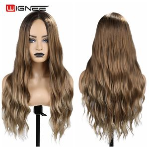 Image 3 - Wignee Ombre Brown Synthetic Wigs for Women Middle Part Long Wave Natural Hair For American Fiber Daily/Party/Cosplay Hair Wigs