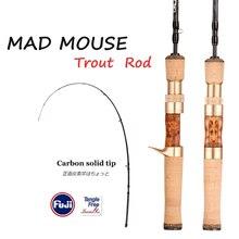 MADMOUSE canne à pêche à truite Portable, avec poignée en bois, 1.42m/1.68m, avec pièces Fuji, en carbone massif, Spinning/Casting, livraison gratuite