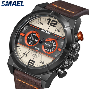 Image 3 - SMAEL Sport Watch Men Waterproof 2019 Top Brand Quartz Men Watch Leather Strap Brown Military Army Wristwatch Male Clock 9074