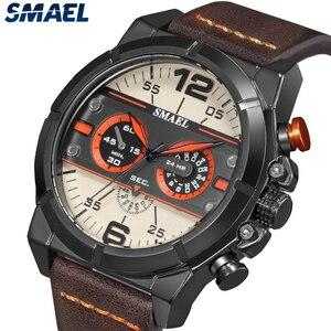 Image 3 - Smael Sport Horloge Mannen Waterdichte 2019 Top Merk Quartz Mannen Horloge Lederen Band Bruin Militaire Leger Polshorloge Mannelijke Klok 9074